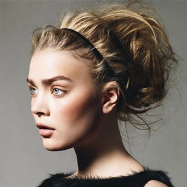 double headband: Wedding Hair, Idea, Hairstyles, Hair Styles, Makeup, Messy Updo, Messy Buns, Beauty