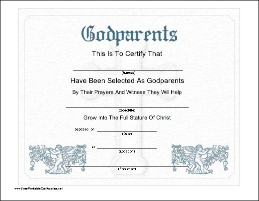 This printable certificate recognizes the selection of godparents to a christian or catholic for Catholic baptism certificate template