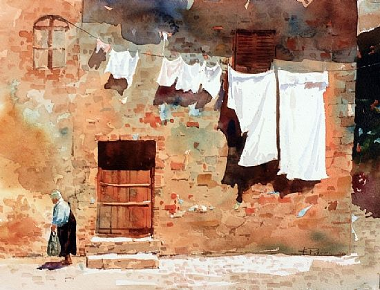 Wash Day in Monteriggioni by Carl Purcell (watercolor)