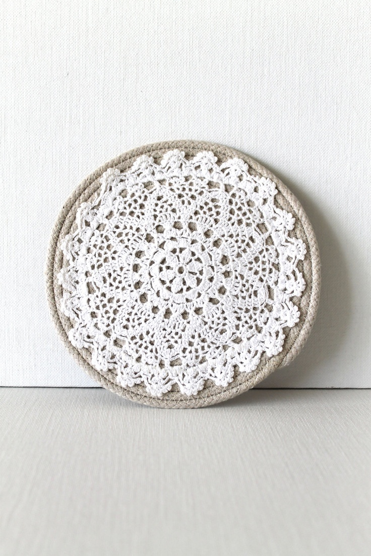 Handmade Trivet Round Rope Crochet Shabby Chic Kitchen Decorating Beige White Neutral.