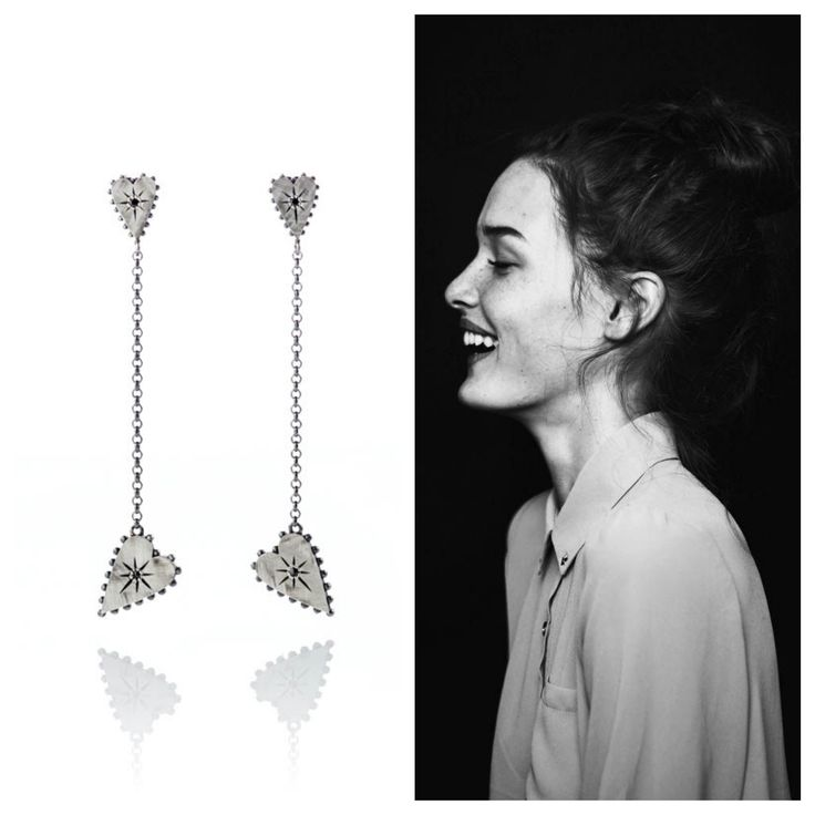 Black and white! #smile #earrings #studs #silver #diamond