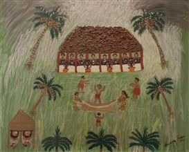 Artwork by Teuane Tibbo, Making Tapa, Made of acrylic on board