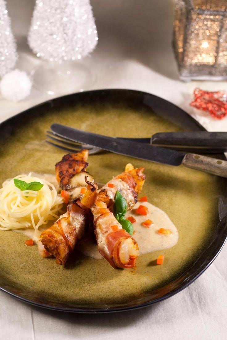 Hap & tap: Scampi's in kruidenkaassausje en paprika, capellin...