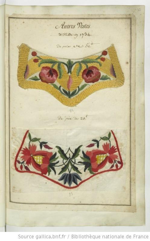 * Autres vestes de mode en 1734 Echantillons d'étoffes et de rubans recueillis par le Maréchal de Richelieu