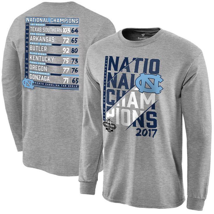 North Carolina Tar Heels Fanatics Branded 2017 NCAA Men's Basketball National Champions Ocotillo Schedule Long Sleeve T-Shirt - Heather Gray