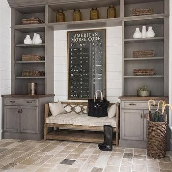 Mudroom with Gray Built In Cabinets