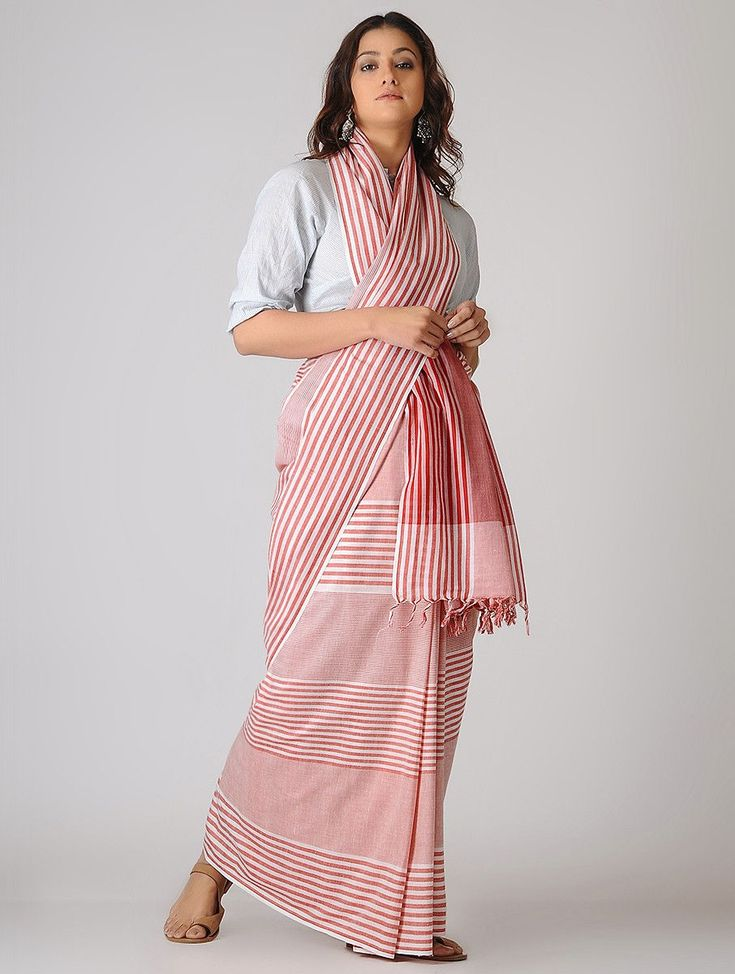 Buy Pink Ivory Striped Organic Cotton Saree Sarees Woven The Wondrous Jamdani khadi fabric to craft your wardrobe's trophy pieces Online at Jaypore.com