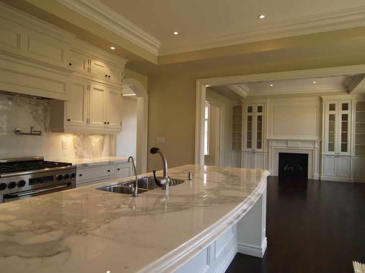 Marble Lovers Dream, Large Curved Island, Marble Back splash, Crown Molding