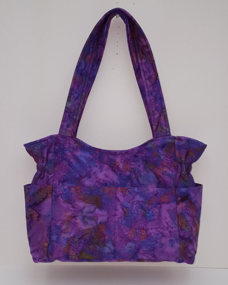 Batik Purple Blue Medium Bag,  Marble Purse, Many Inside Pockets Bag, Quilted Cotton Purse,Tote Bag, Diaper Bag, Fabric Purse, Quilted Tote by JustBeautiful161 on Etsy