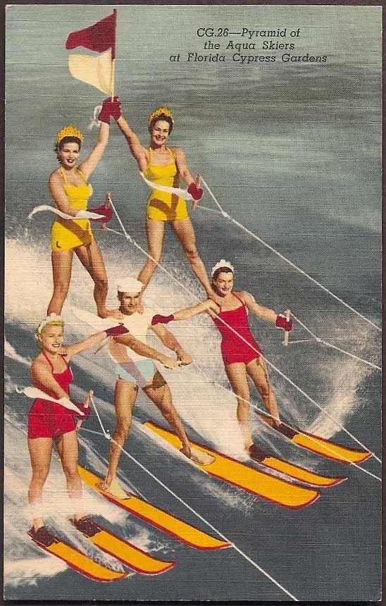 Cypress Gardens, Florida Vintage Postcard - Pyramid of Aqua Skiers, vintage swimsuits