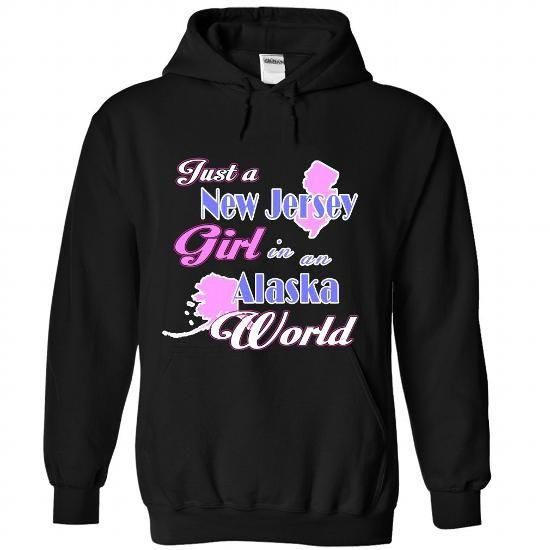 Design2 Just a New Jersey girl in Alaska World - #unique gift #mothers day gift. CHECKOUT => https://www.sunfrog.com/States/Design2-Just-a-New-Jersey-girl-in-Alaska-World-6326-Black-Hoodie.html?68278