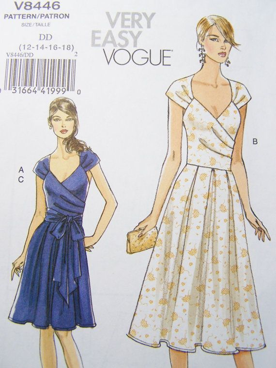 Vogue V8446 Sewing Pattern - Women's Wrap Dress with Sash, Bridesmaid or Cocktail Dress, Very Easy Plus Size Pattern