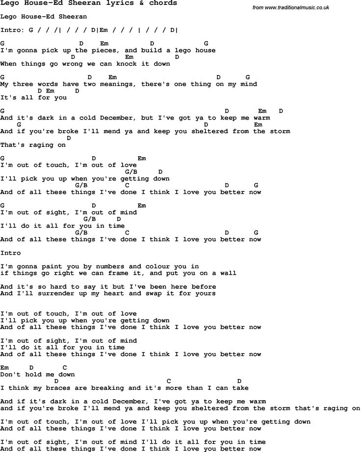Love song lyrics for lego house ed sheeran with chords for First house music song