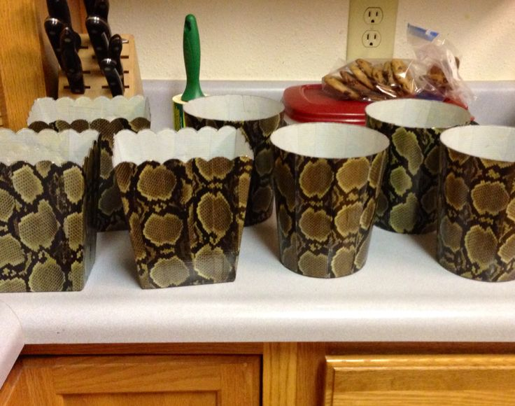 Snakeskin print duct tape transformed these clear, plastic containers for a fun snake theme!