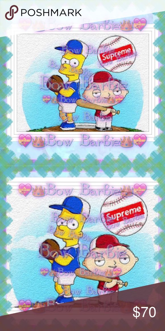 """❣️💙⚾️Supreme X SimpsonsX Family Guy Mix Art⚾️💙❣️ ❣️💙⚾️ Supreme X The Simpsons X Family Guy Mash up Baseball Painted Wall Art Print ⚾️💙❣️ Baseball Art Work 💚 Sport Art Print 💙 Cartoon Art  💟😃Custom art print created by me!😍 Purchase & receive a HIGH QUALITY 8"""" X 11""""{Letter} SIZE~art print of my creation!☺️  💋+FREE Choose black,gold or silver frame!{Will make it 8"""" x 10"""" with frame}❤️  💄Perfect for wall decor, bathrooms, closets, your vanity, table tops,or even your office at…"""