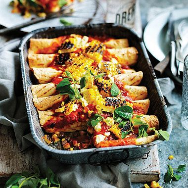 Courgette, black bean & corn enchiladas