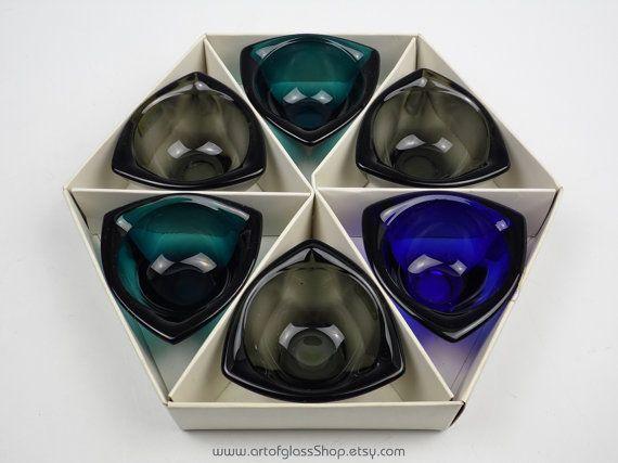 Boxed 6 Kaj Franck Nuutajarvi Scandinavian vintage Häränsilmä glass bowls