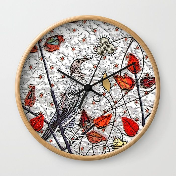 Medieval bird in grey Wall Clock by Bozena Wojtaszek   Society6