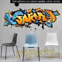 graffiti nombre JAVIER vinilo pared decorar decoración habitación dormitorio cuarto infantil juvenil mural adolescente personalizado Madrid Barcelona Mural Yayaprint.com