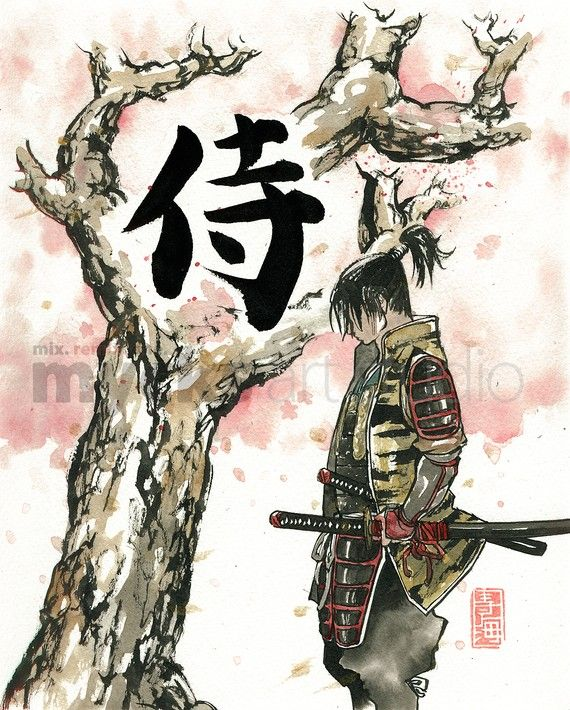 PRINT Samurai under Sakura (Cherry Blossoms) tree 8x10