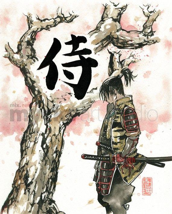 PRINT Samurai under Sakura (Cherry Blossoms) tree 8x10