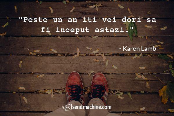 """""""Peste un an iti vei dori sa fi inceput astazi."""" - Karen Lamb"""