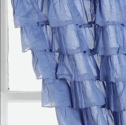 2 Curtain Panels Shabby French Country Blue Cottage Ruffle Drapes Ruffled Chic