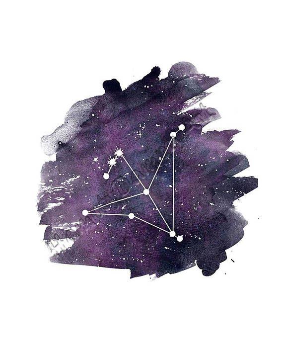 The Eagle constellation - Aquila constellation print Purple watercolor art Wall print