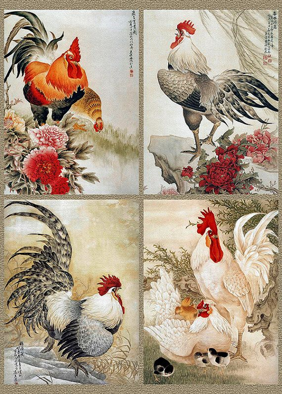 Chinese Rooster Art. Fire Red Rooster. Chinese New Year of the Rooster. Cock. Rooster New Year. Vintage Chinese art. Vintage print in 5x7, 8x10, 11x14 inches and A4 (210x297 mm) sizes. Shop: etsy.me/2h84Mv9