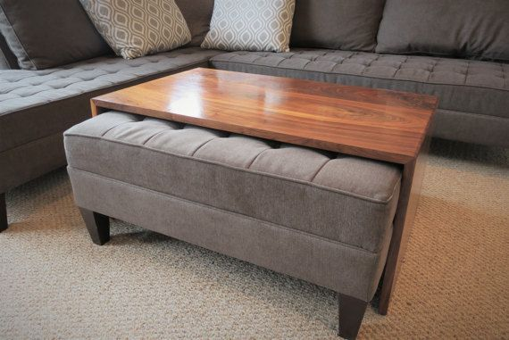 This handcrafted waterfall design coffee table is designed to fit over-the-ottoman in your living room. It can still be a comfortable foot rest and and be styled nicely .