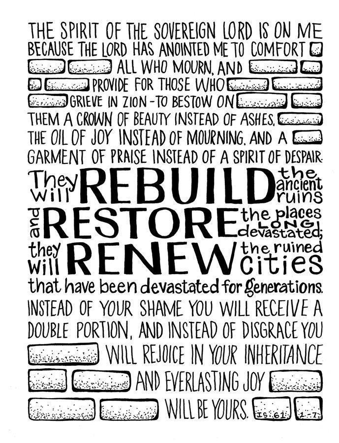 Isaiah 61:1-7; Amen!  Thank you Jesus!