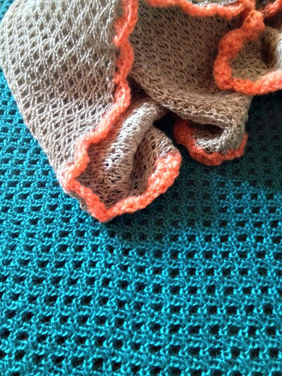 Cappucino/orange baby blanket by mamamasza on Etsy