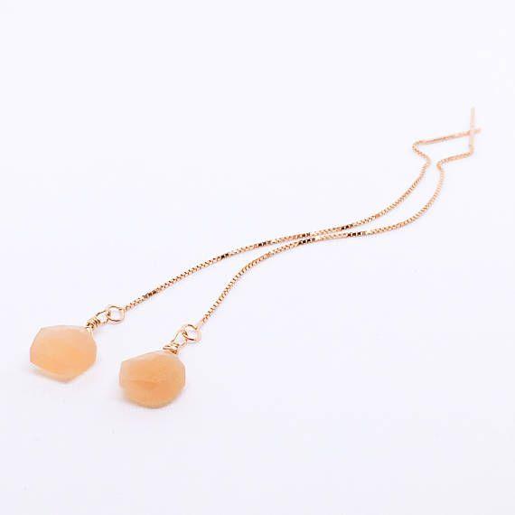 Moonstone Ear Thread Pentagon Earrings Peach Moonstone