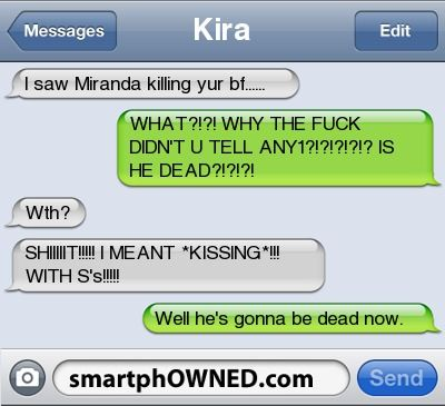 NOT KILLING, KISSING! Oh wait, she's dead anyways.