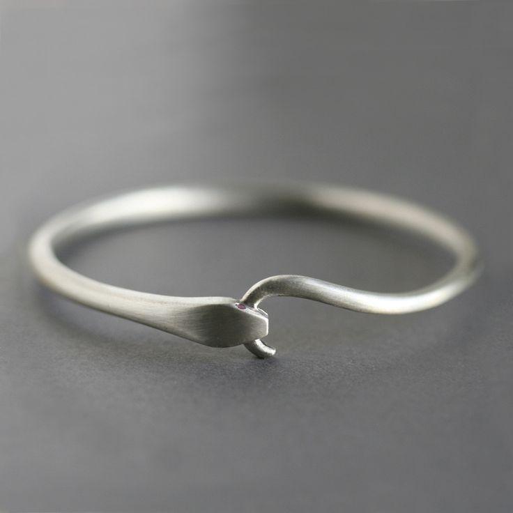 Ruby Snake Tail Bangle Bracelet