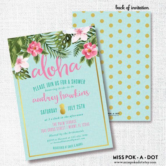 ALOHA TROPICAL FLOWER pineapple bridal shower by misspokadot