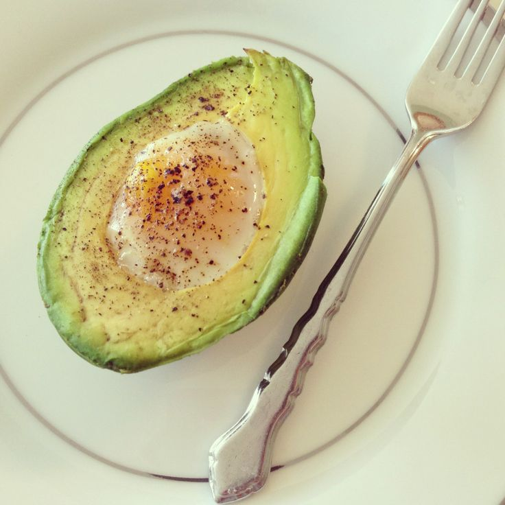 Baked Egg in Avocado - it's ok... but i don't know if i'll try it again