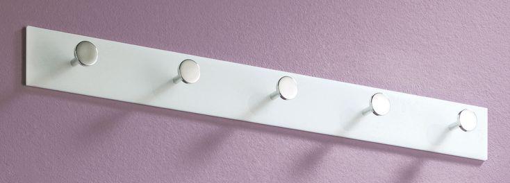 Garderobenleiste Wandgarderobe Garderobenhaken Mod.G150 Weiß Schwarz Transparent