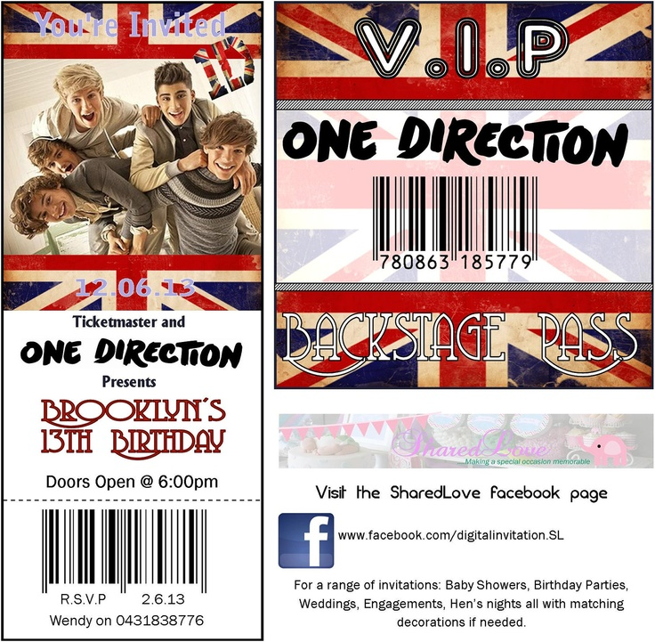 One Direction Birthday Party V.I.P (vip) ticket Invitation and barcode backstage lanyard. $9.00, via Etsy.