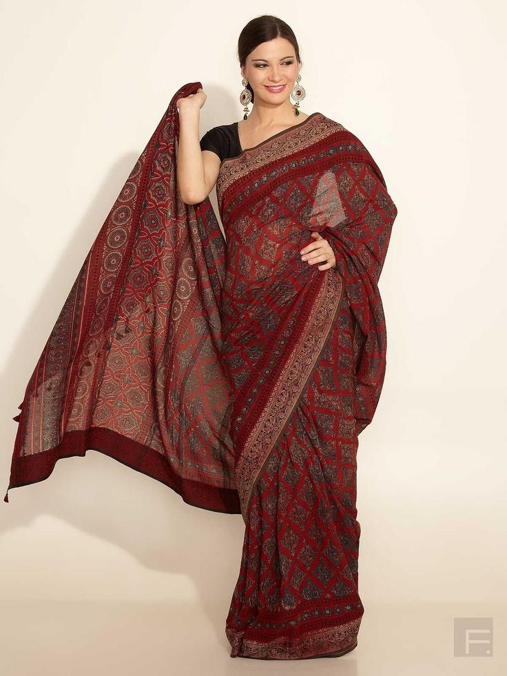 FabIndia // Cotton Mull Sari With Ajrakh Print