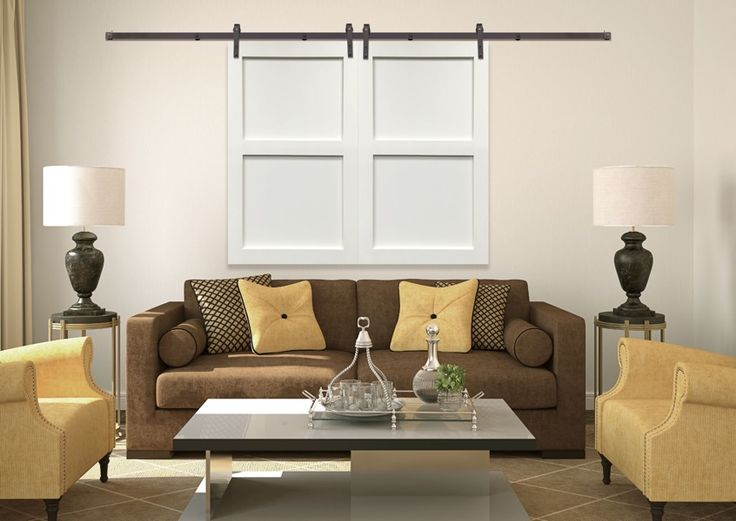 Closed Sliding Barn Door Shutters With 2 Panels In A Minneapolis MN Living Room