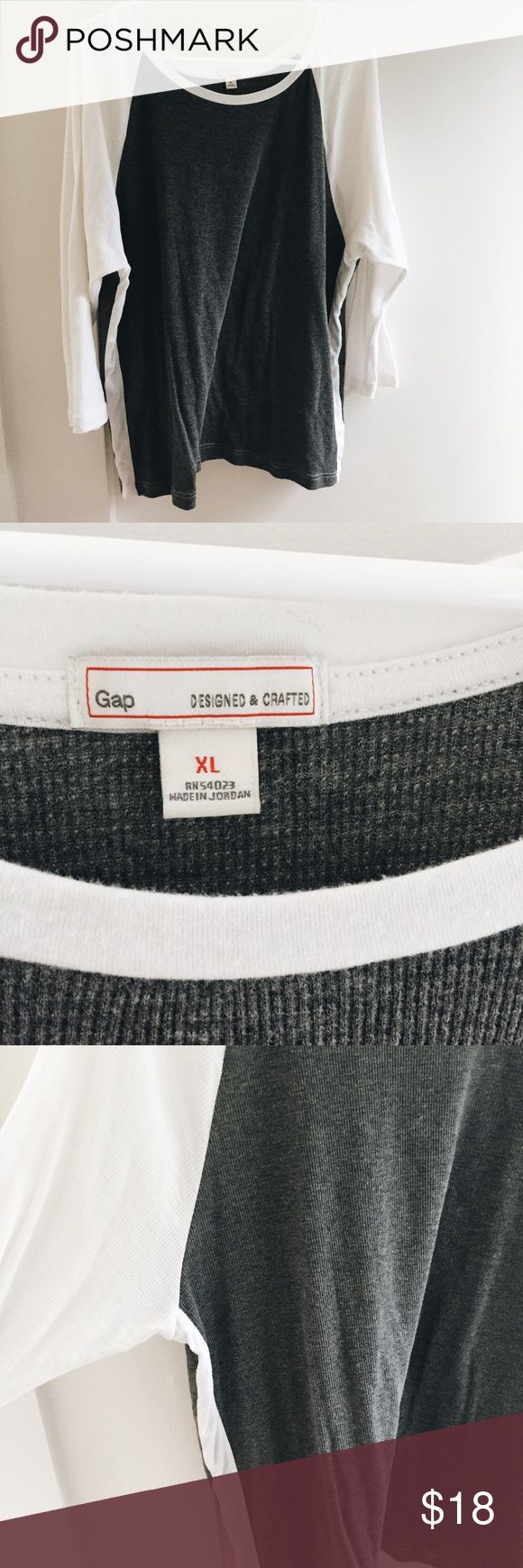 Gap long sleeve waffle shirt SIZE XL grey and white baseball long sleeve tee. only worn once and in very good condition :) GAP Tops Tees - Long Sleeve