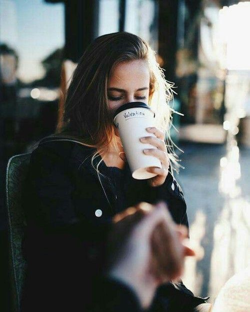 Imagine coffee, girl, and morning