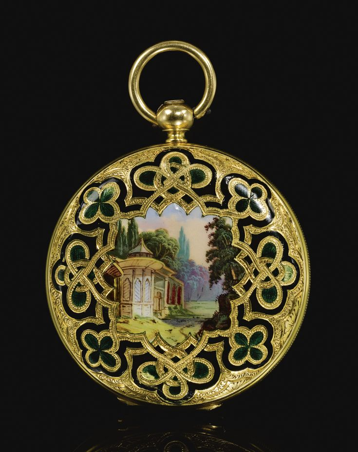 A FRENCH ENAMELLED GOLD POCKET WATCH MADE FOR THE OTTOMAN MARKET, PARIS, 19TH CENTURY the round white enamel dial with Turkish numerals, blued steel hour and minute hands pierced with cintamani and crescent star motif, the gilt-metal case engraved and enamelled with a central cartouche painted with a pavilion within a woodland, the reverse with a ship arriving into port enclosed by quatrefoil and strapwork borders reserved against a green and black enamelled ground