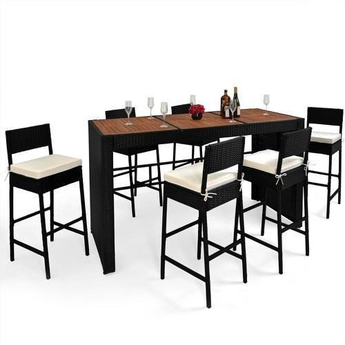 7Pc Rattan Dining Bar Set Patio Wicker Furniture Garden Table & Bar Stools Pads #RattanFurniture