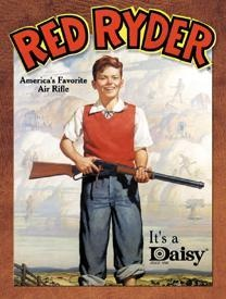 Daisy Red Ryder BB Gun Rifle Pump Action B B Vintage Advertising Tin Sign Had one at age 8 or 9, didn't shoot my eye out either:^)
