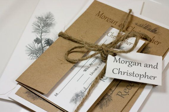 Pine Tree Natural Wedding Invitation Suite by LemonSquareDesigns, $4.00