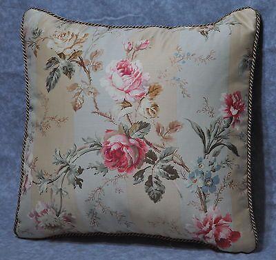 """Pillow made w/ Ralph Lauren Highfields Stripe Floral Fabric 16"""" trim cording NEW"""