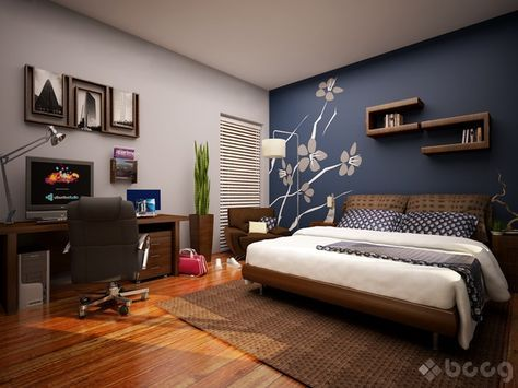 Gentil Master Bedroom Colors? Gray Walls With Navy Blue Accent Wall