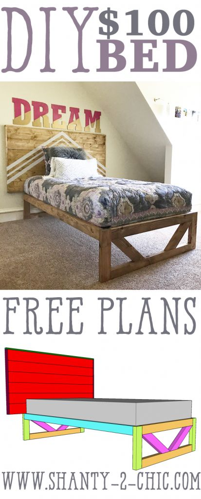 $50 Modern Platform Bed! Free plans and how-to video at www.shanty-2-chic.com